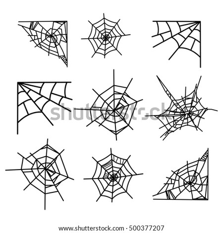 Cobweb vector set for Halloween isolated on a white background.