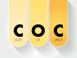 COC - Cost Of Credit acronym, business concept background