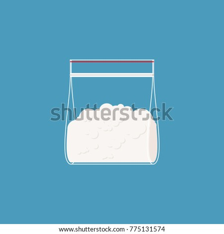 cocaine plastic bag isolated