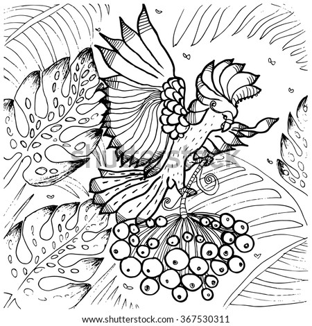 cockatoo parrot coloring page of exotic tropical bird flying among palm tree leaves in jungle forest - Tree Leaves Coloring Page