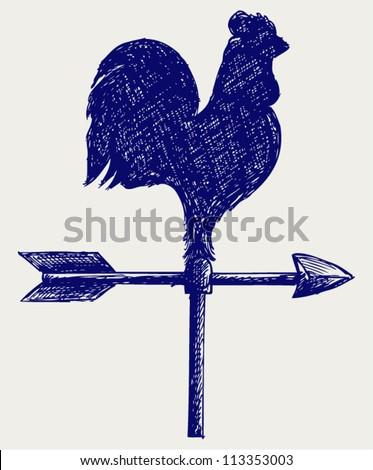 Cockerel wind vane. Doodle style