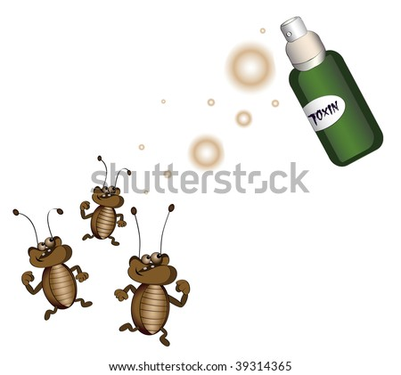 cockroaches running away from killing poison on a white background