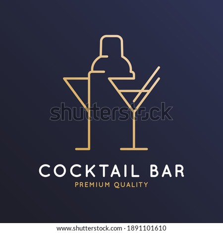 Cocktail bar logo with cocktail shaker and glass of martini on dark blue background