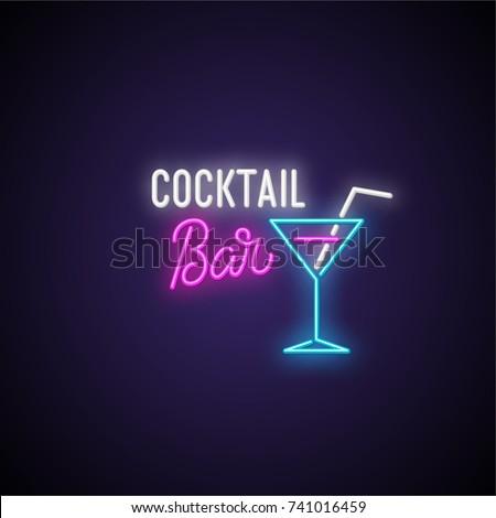 Cocktail bar neon signboard. Vector Illustration.