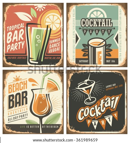 stock vector cocktail bar retro tin sign set vector poster templates collection for summer party bar or 361989659 - Каталог — Фотообои «Ретро»