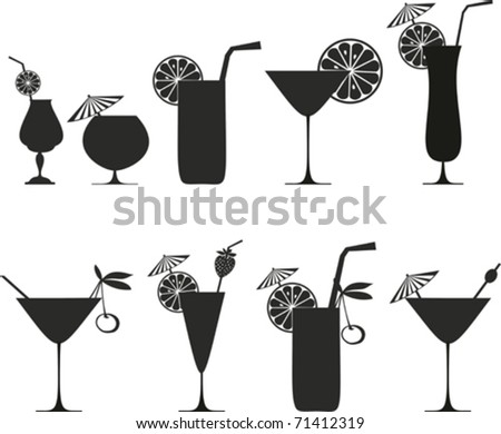 cocktail collection isolated on