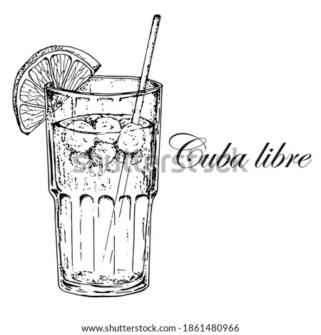 Cocktail 'Cuba Libre'. Alcoholic cocktail with a slice of lime. Vector illustration. Hand drawn. Photo stock ©
