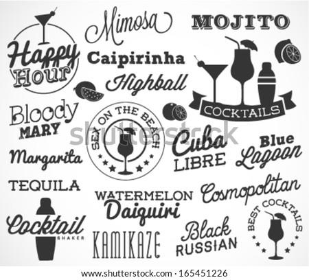 Cocktail Logo Design Cocktail Design Elements in