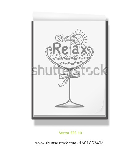 Cocktail glass .Beach vacation ,holiday .Open notebook for drawing .White sketchbook .Vector illustration .