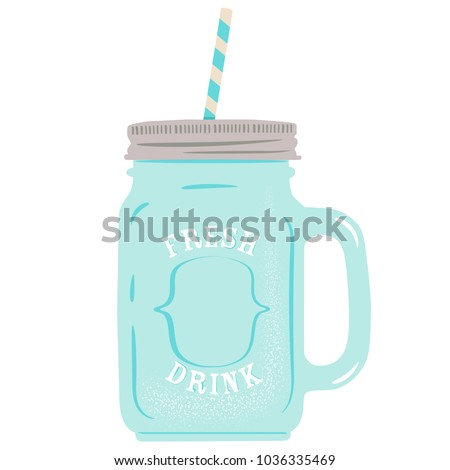 Cocktail glass jar vector illustration