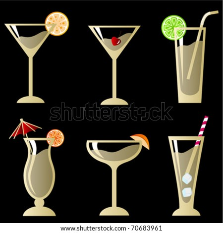 cocktail glass with fruit set - stock vector