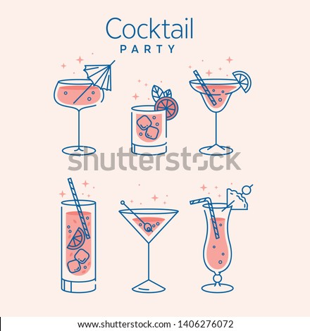cocktail glasses minimal vector