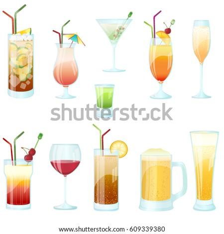cocktail glasses vector set