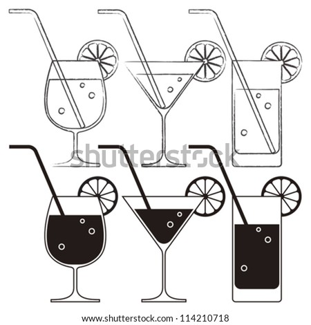 Cocktail glasses with lemon and drinking straw