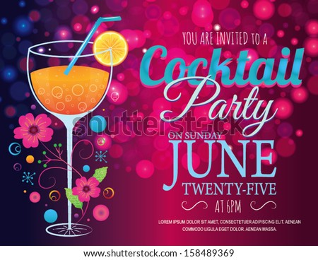 Cocktail Invitation Card in Vector