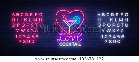 Cocktail logo in neon style. Love Cocktail. Neon sign, Design template for drinks, alcoholic. Light banner, Bright advertising for cocktail bar, party. Vector illustration. Editing text neon sign