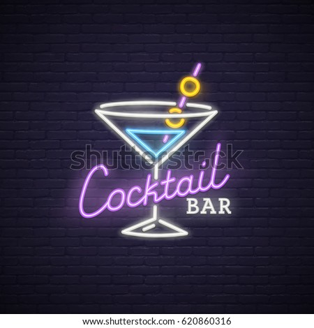 cocktail neon sign  bright
