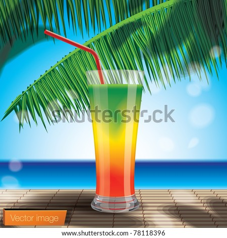 Cocktail on the beach. Vector image