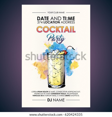 Cocktail party flyer. Watercolor + sketchstyle. #620424335