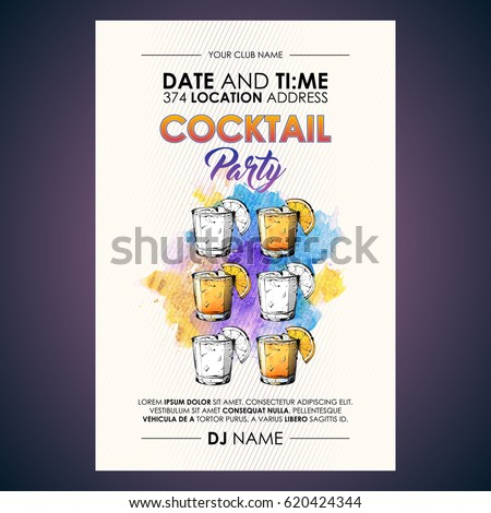 Cocktail party flyer. Watercolor + sketchstyle. #620424344