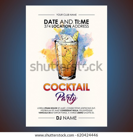 Cocktail party flyer. Watercolor + sketchstyle. #620424446
