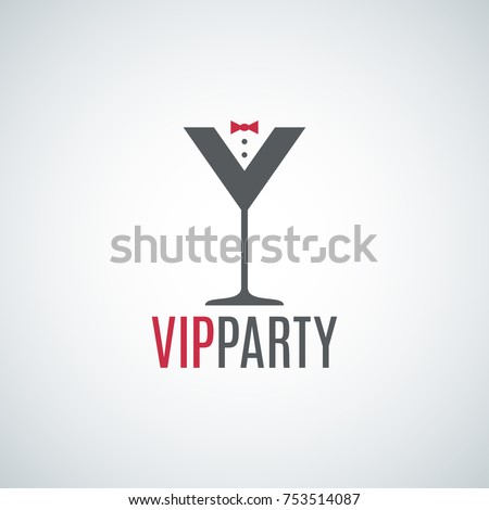 cocktail party glass logo vip