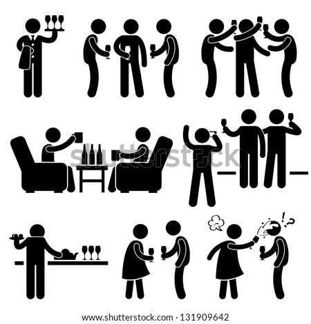 Cocktail Party People Man Friend Gathering Enjoying Wine Beer Stick Figure Pictogram Icon