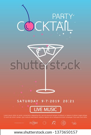 Cocktail party poster template. cocktail party invitation poster. Poster design with cocktail glass on gradient background.
