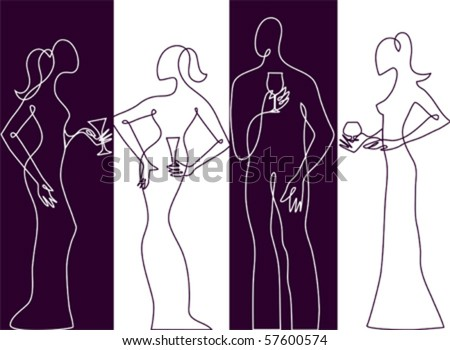 Cocktail party silhouette - stock vector