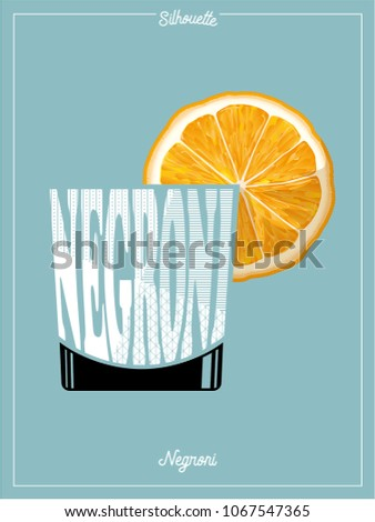 Cocktail,Silhouette,Negroni,Clip art,typography,retro style vector illustration