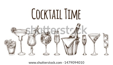 Cocktail sketch set. Illustration with cocktails sketches. Hand drawn pattern cocktails bar menu.