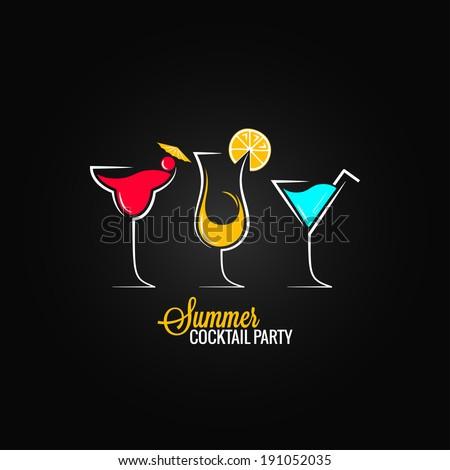 Cocktail Logo Design Cocktail Summer Party Design