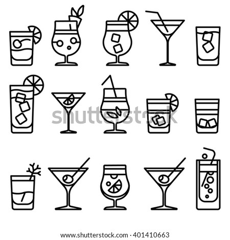cocktail thin line icons