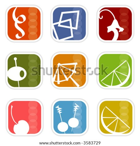 Cocktail Time! Colorful, stylish icons with a retro flavor; Easy-edit layered vector art. All elements whole so you can move them around.