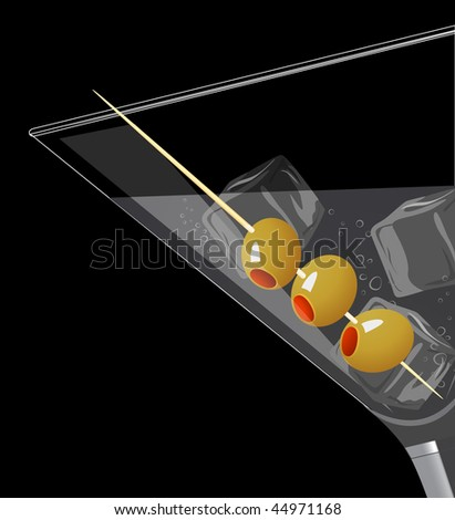 Cocktail with ice, vector illustration - stock vector