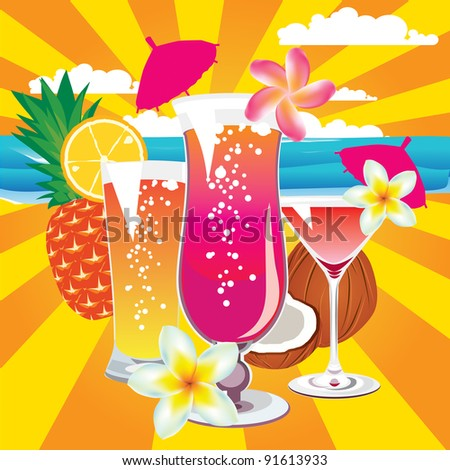 cocktails - stock vector