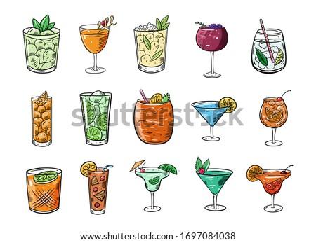 cocktails big set cartoon flat