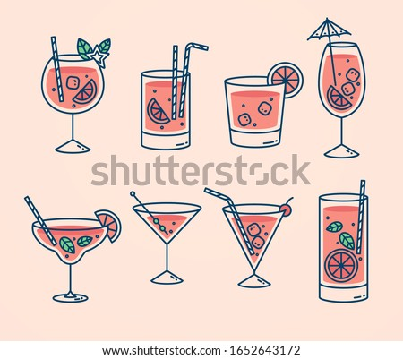 Cocktails collection, alcoholic and non-alcoholic summer drinks with ice cubes of lemon, lime, and mint. Whiskey with ice, tequila, vodka, sambuca, mojito and martini.