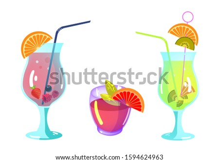 Cocktails collection. Alcoholic summer liquid drinks in glass. Alcohol drinks collection isolated.  cocktails and drinks. Alcohol drinks collection for party. Bar drink vector icons set for a party