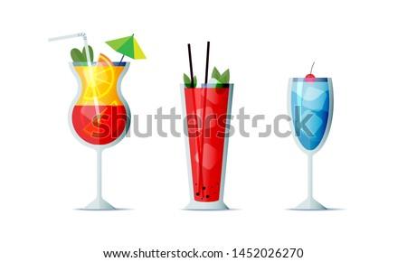 cocktails icon set cartoon