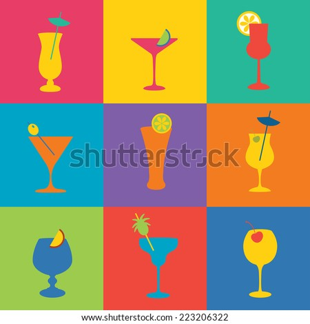 cocktails icon set in flat