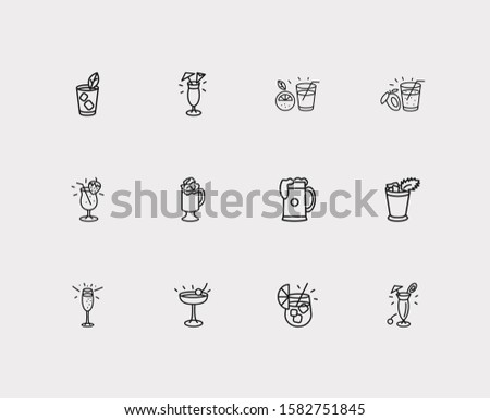 cocktails icons set strawberry