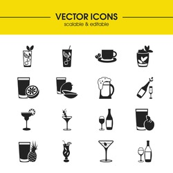 Cocktails icons set with champagne, rum and mint julep cocktail elements. Set of cocktails icons and manhattan cocktail concept. Editable vector elements for logo app UI design.