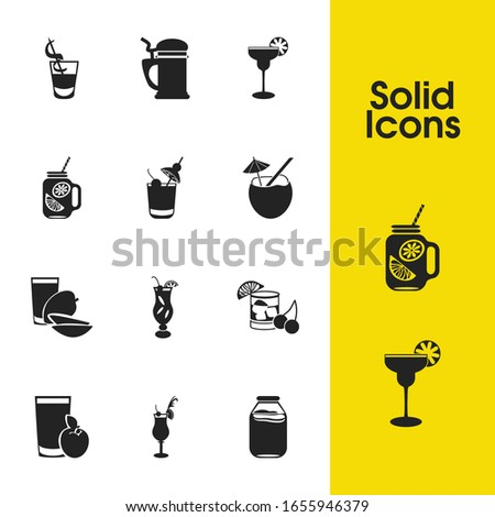 Cocktails icons set with sezarac cocktail, hurricane cocktail and coconut cocktail elements. Set of cocktails icons and draught concept. Editable vector elements for logo app UI design.