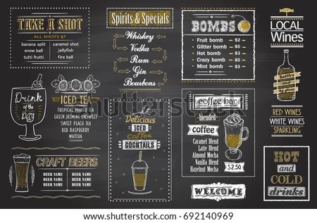 cocktails menu chalkboard set ...