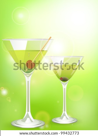 cocktails on a green glowing