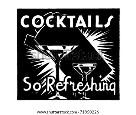 Cocktails - Retro Ad Art Banner