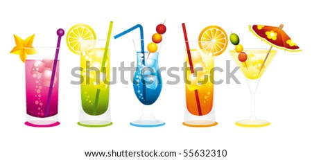 Cocktails row. Vector illustration.