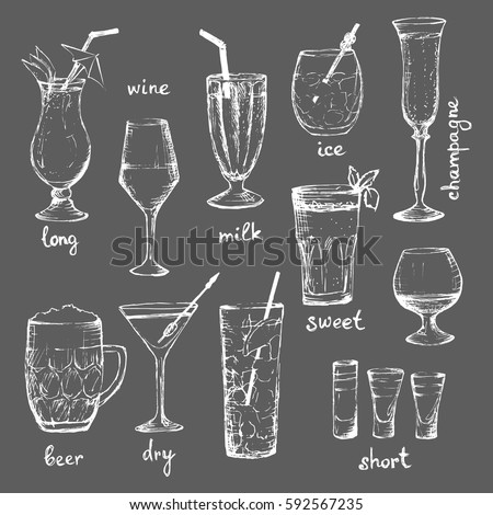 Cocktails - set of hand-drawn white drinks with text