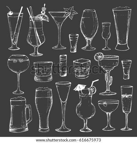 Cocktails - set of 19 white hand-drawn drinks